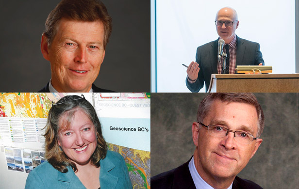 Clockwise from top left: Teck's Doug Horswill, Stewart Muir, former A-G Geoff Plant, and Lyn Anglin of Geoscience BC