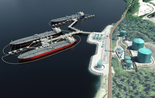Artist's rendering of proposed Kinder Morgan pipeline and tanker expansion
