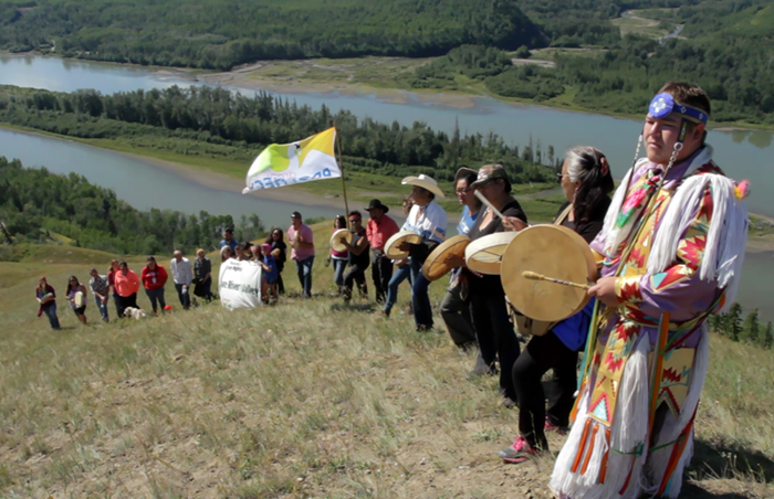Treaty 8 drummers above proposed Site C Dam (Damien Gillis)