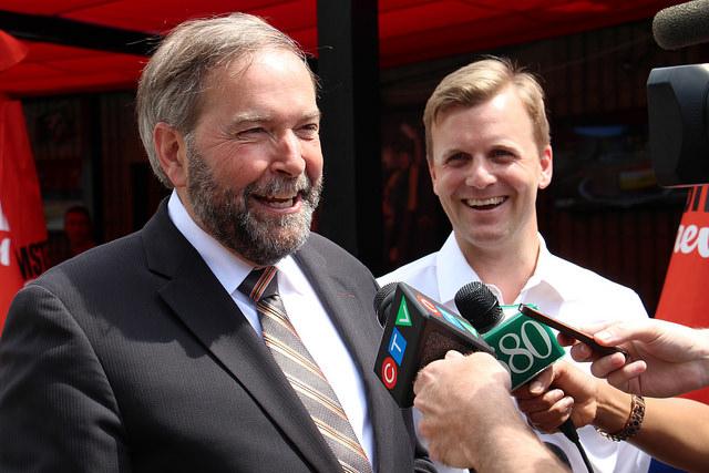 Tom Mulcair supporting NDP candidate Joe Cressy (Flickr/Joe Cressy/Tim Ehlich)