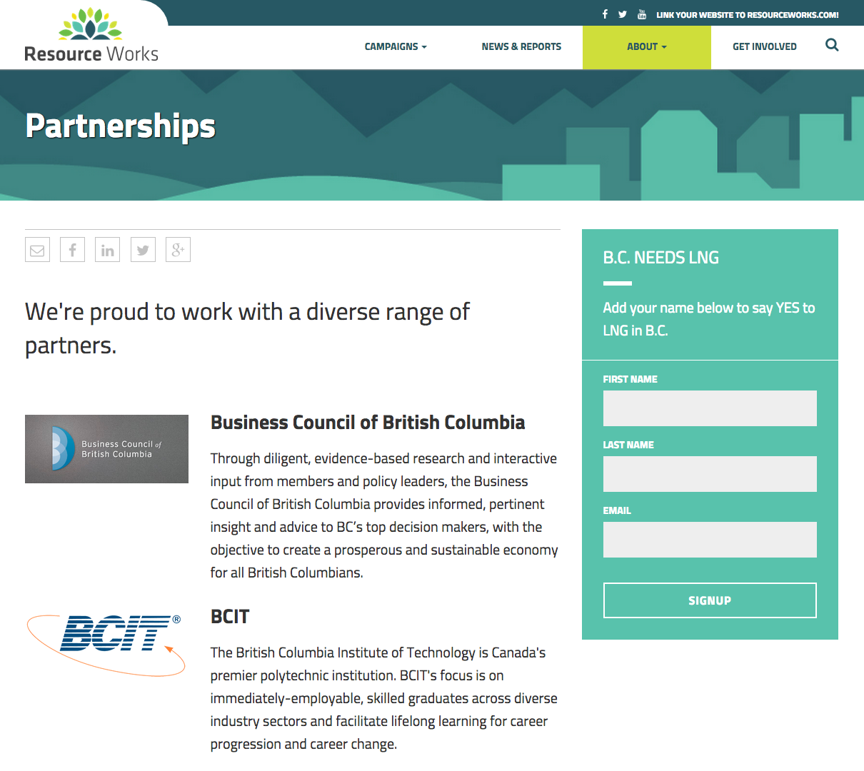 "BCIT's logo on Resource Works' ""Partnerships"" page as of last week. BCIT has since been removed and the name of the page changed to ""Partnerships and Sponsorships"""