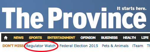 A screen capture of the Province's online masthead - with RegulatorWatch highlighted