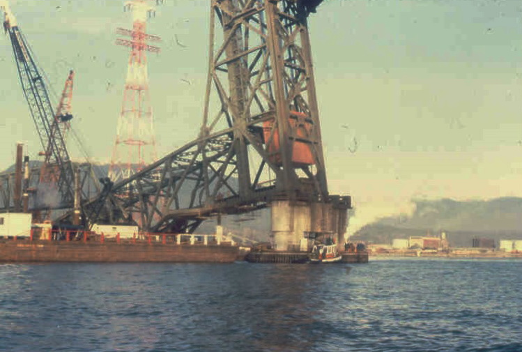 A much smaller vessel than an Aframax tanker collides with the rail bridge in 1979